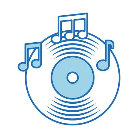 music vinyl disk note sound vintage vector illustration