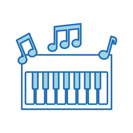 synthesizer note music electronic instrument keyboard vector illustration Illustration