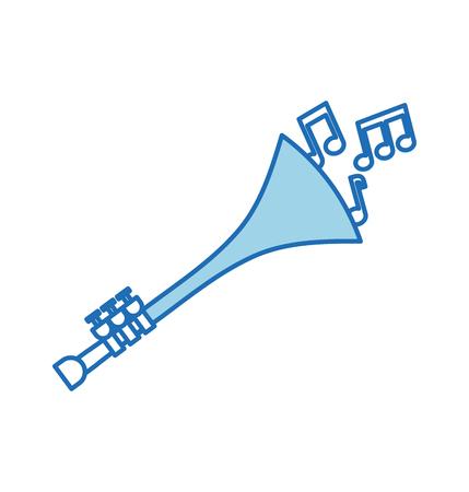 Note di tromba vento strumento musicale corno illustrazione vettoriale Archivio Fotografico - 90294712