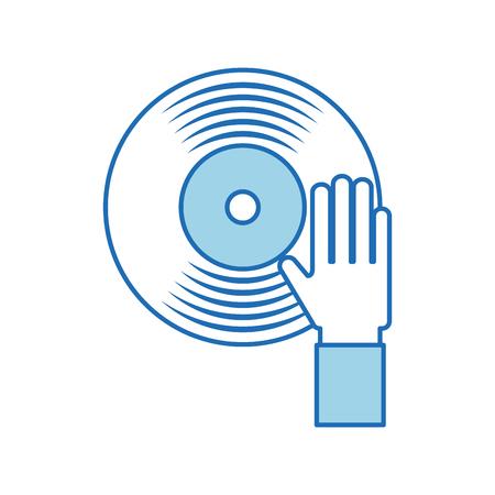 Hand Touch Vinyl Musik Behandlung Unterhaltung Vektor-Illustration Vektorgrafik