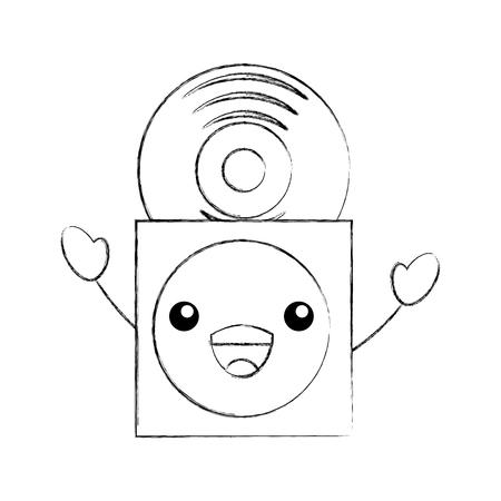 紙ケースのベクトル図にビニール レコードと音楽カバー