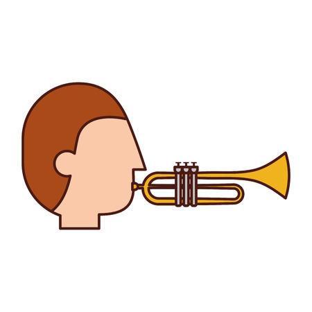 musician character trumpet jazz music festival vector illustration