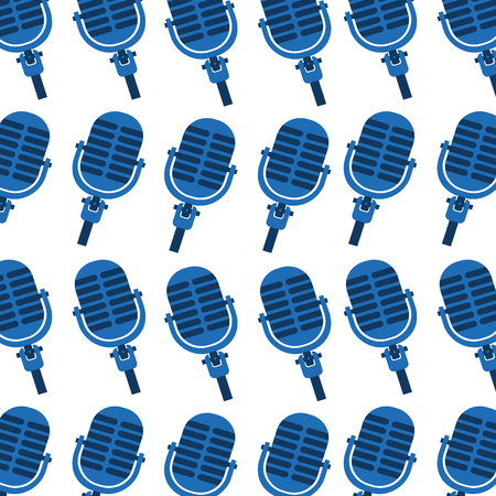 blue microphone instrument seamless pattern image vector illustration