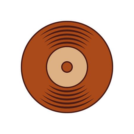 music vinyl disk record vintage cartoon vector illustration Çizim