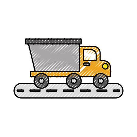 kipper vrachtwagen bouw straat vervoer vectorillustratie Stock Illustratie