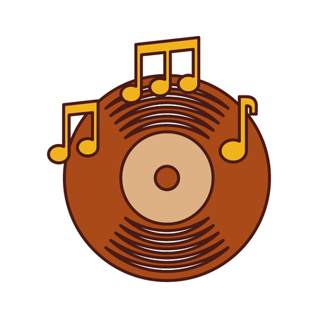 music vinyl disk note album sound vintage vector illustration
