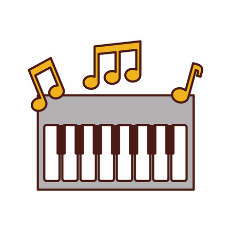 synthesizer note music electronic instrument keyboard vector illustration Ilustração