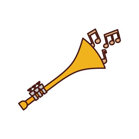 Trompete Noten Wind Musikinstrument Horn Vektor-Illustration Standard-Bild - 90294744