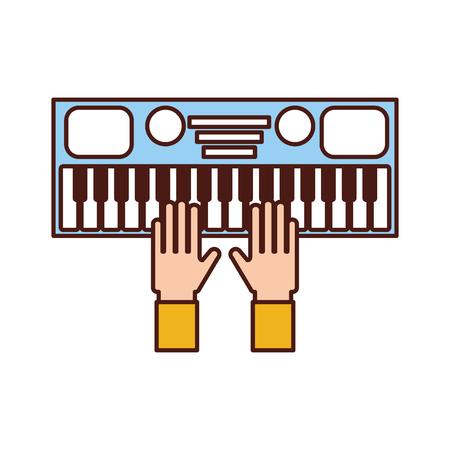 シンセサイザー電子楽器のキーボードのベクトル図と手します。 写真素材 - 90294747