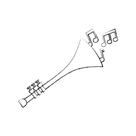 Trompete Noten Wind Musikinstrument Horn Vektor-Illustration Standard-Bild - 90294754