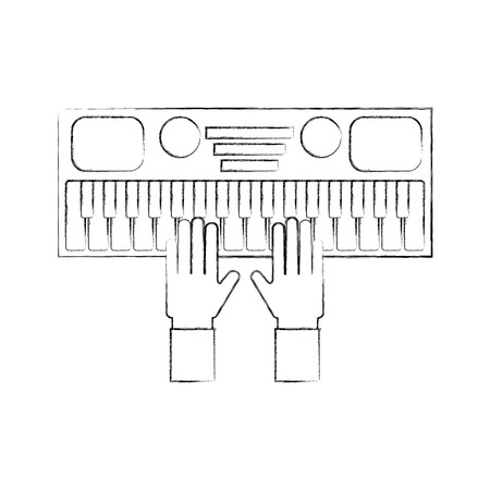 シンセサイザー電子楽器のキーボードのベクトル図と手します。  イラスト・ベクター素材
