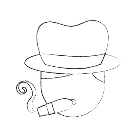 musician tobacco cigar and hat character jazz music festival vector illustration