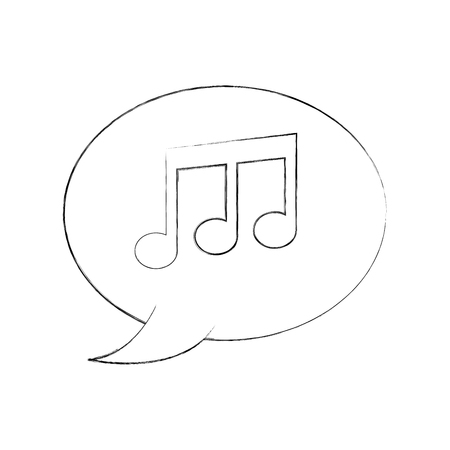 speaker bubble note music melody composition vector illustration