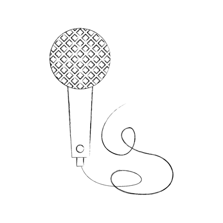 vintage microphone cable music karaoke vector illustration