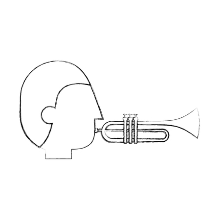 musician character trumpet jazz music festival vector illustration