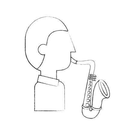 musician character saxophone jazz music festival vector illustration Illustration