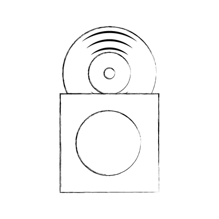 music album cover with vinyl record disk in papercase vector illustration Illustration