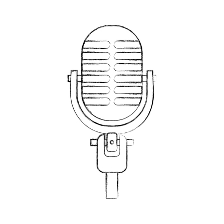 microphone sound music equipment icon vector illustration