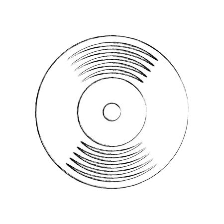 音楽ビニール ディスク レコードのヴィンテージ漫画ベクトル図  イラスト・ベクター素材
