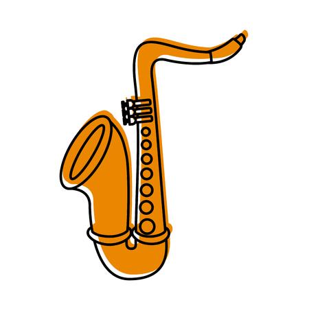 saxophone jazz instrument musical festival celebration vector illustration