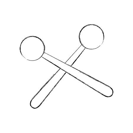 wooden sticks music percussion acoustic equipment vector illustration Illustration