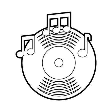 music vinyl disk note music sound vintage vector illustration