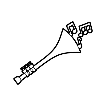 Trompete Noten Wind Musikinstrument Horn Vektor-Illustration Standard-Bild - 90294811