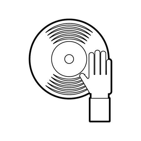hand touch vinyl music disk entertainment vector illustration