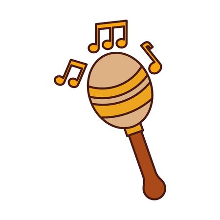 maracas note music instrument musical festival celebration vector illustration Çizim