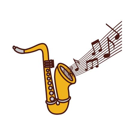 saxophone note music jazz instrument festival vector illustration