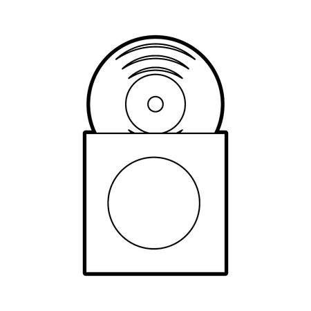 music album cover with vinyl record disk in papercase vector illustration Ilustração