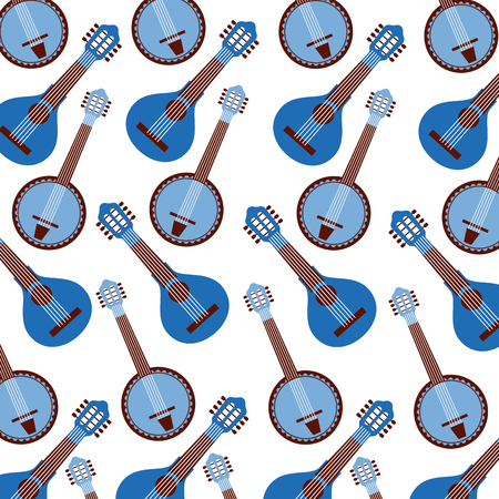 blue banjo instrument seamless pattern image vector illustration Illustration