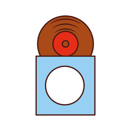 music album cover with vinyl record disk in papercase vector illustration 向量圖像