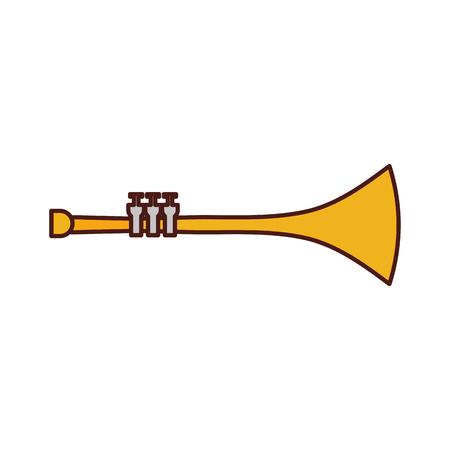 trumpet wind musical instrument horn vector illustration