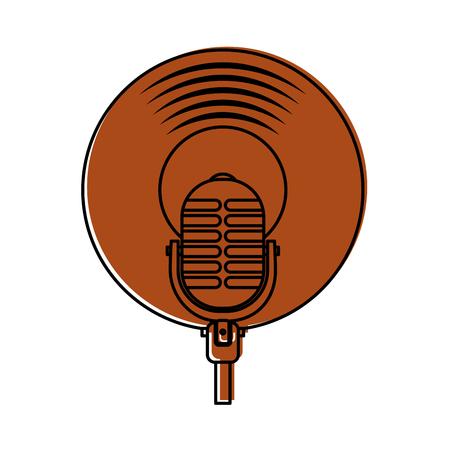 Mikrofon Musik Vinyl Scheibe Vintage Cartoon Vektor-Illustration