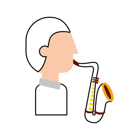 musician character saxophone jazz music festival vector illustration Stock Illustratie