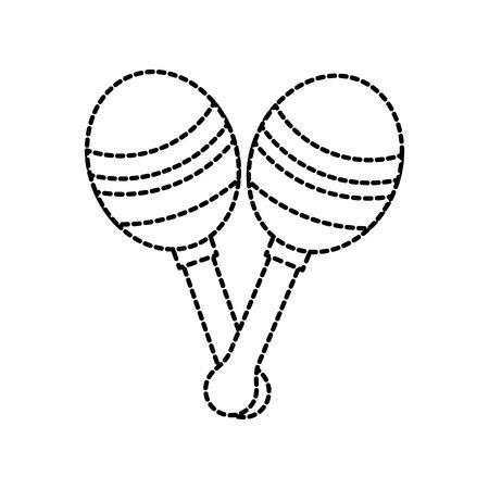 maracas instrument musical festival celebration vector illustration