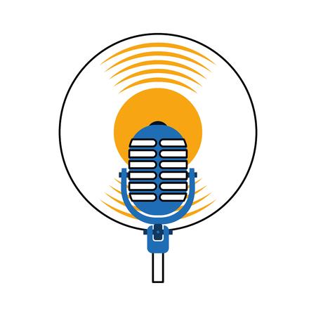 microphone music vinyl disk vintage cartoon vector illustration Ilustração