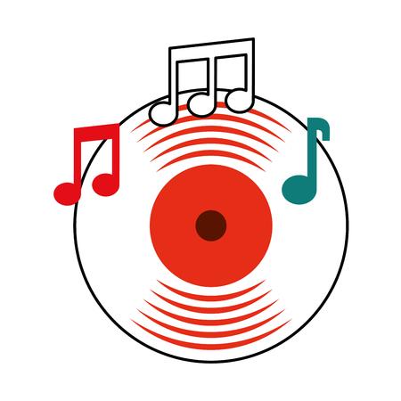 음악 비닐 디스크 메모 음악 소리 빈티지 벡터 일러스트 레이션 일러스트