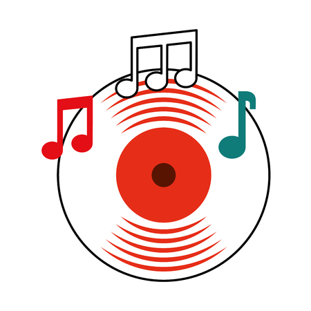 music vinyl disk note music sound vintage vector illustration