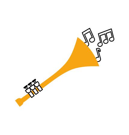 Note di tromba vento strumento musicale corno illustrazione vettoriale Archivio Fotografico - 90295032