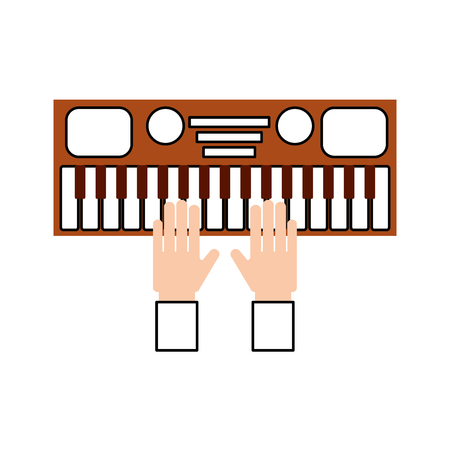 hand with synthesizer electronic instrument keyboard vector illustration