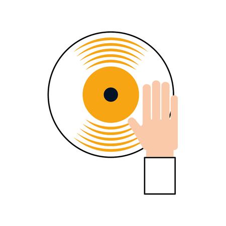 손 터치 비닐 음악 디스크 엔터테인먼트 벡터 일러스트 레이션 스톡 콘텐츠 - 90295086