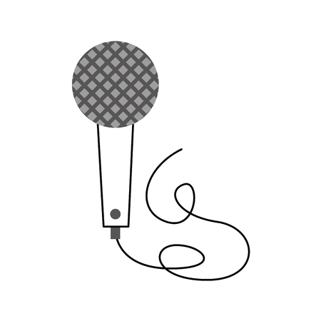 vintage microphone cable music karaoke vector illustration