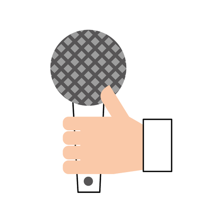 hand holding microphone music song broadcasting vector illustration