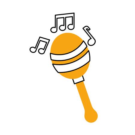 マラカス音楽楽器音楽祭祭典ベクトル図に注意してください。