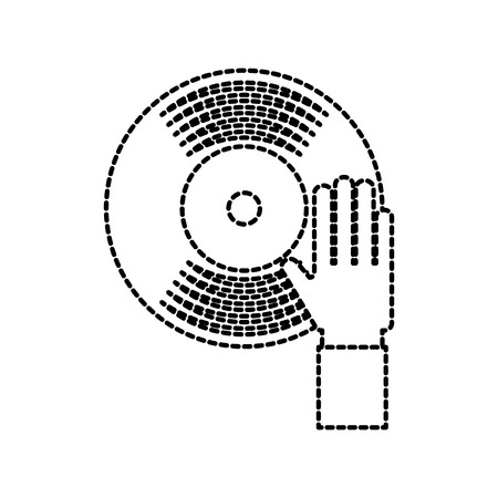 hand touch vinyl music disk entertainment vector illustration