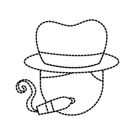 음악가 담배 시가 모자 문자 재즈 음악 축제 벡터 일러스트 레이션