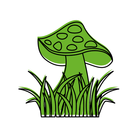 autumn icon mushroom in grass nature symbol vector illustration 版權商用圖片 - 90295162