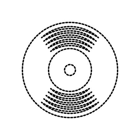 music vinyl disk record vintage cartoon vector illustration Ilustração